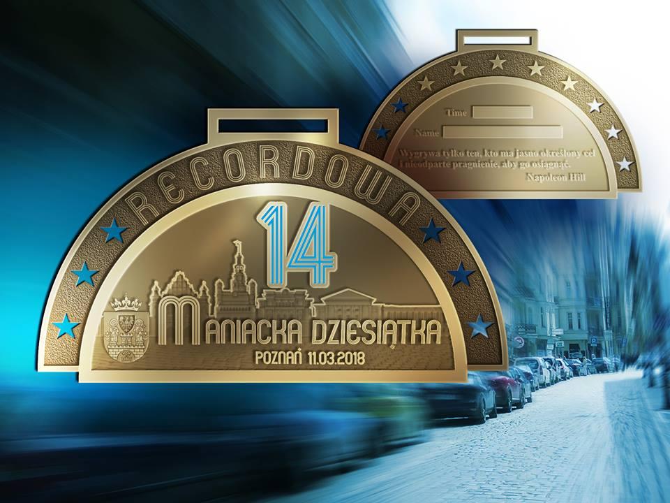 14Recordowamedal wizualizacja1 - 6000 biegaczy stanie na starcie 14. Rekordowej Maniackiej Dziesiątki