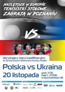 Mecz Polska Ukraina w tenisie stołowym - Plakat wydarzenia