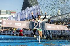 Zwyciężczyni na mecie maratonu w 2019 r. (fot. Adam Ciereszko)