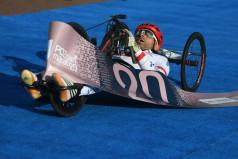 Wózkarz na mecie (fot. Jakub Kaczmarczyk)