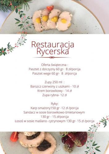 Menu restauracji Rycerskiej, na zdjęciu schab na zimno