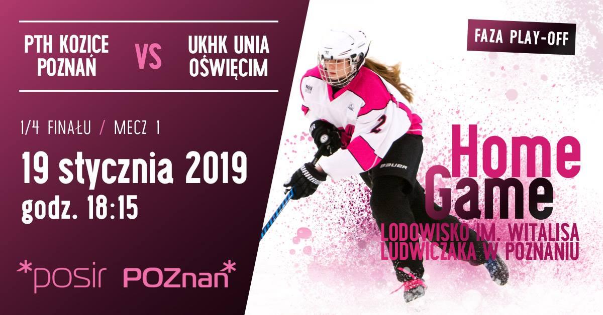 Kibicujemy Kozicom 1 Plakat wydarzenia hokeistka z kijem hokejowym informacje o dacie i miejscu wydarzenia - Kibicujemy Kozicom