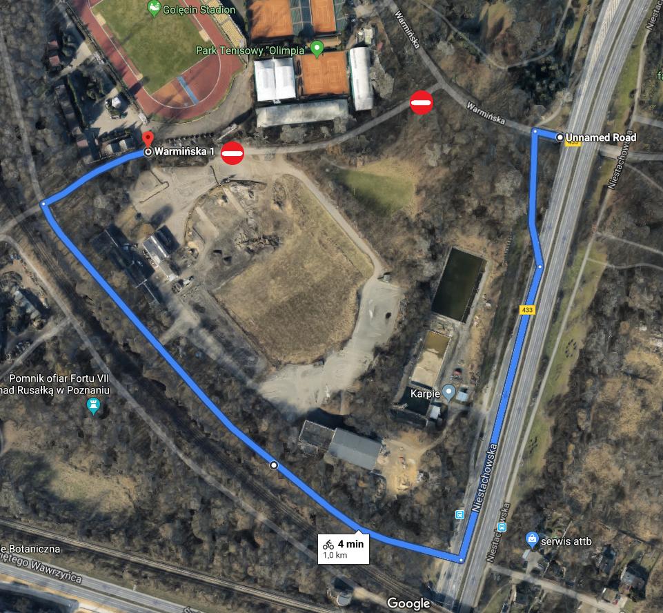 Mapka objazdu dla rowerów i pieszych