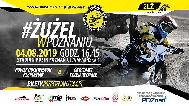 Skorpiony walczą o 1 miejsce - Plakat meczu żużlowego - zawodnik PSŻ na motorze - daty, logotypy sponsorów
