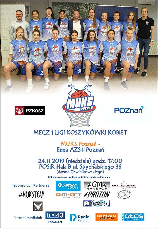 Derby Poznania w I lidze koszykówki kobiet (1) Plakat wydarzenia zdjęcie grupowe drużyny MUKS Poznań