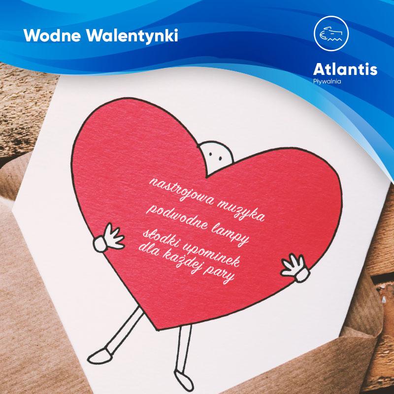 Grafika z serduszkiem i logo Atlantis promująca Walentynki